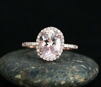 10x8mm Solitaire Oval Pink Morganite Halo Engagement Ring 14k Rose Gold Finish