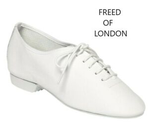 FREED PRECISION FLEX WHITE LEATHER FULL RUBBER SOLE JAZZ DANCE SHOES ALL SIZES