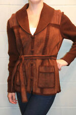 M BROWN SUEDE CROCHET KNIT VTG 70s PATCHWORK TIE HIPPIE BOHO SWEATER JACKET COAT