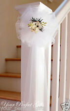 "9"" WHITE TULLE NET WEDDING PEW BOWS BRIDAL DECOARTION"