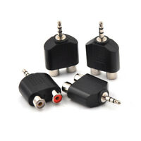 4PCS Stereo Audio 3.5mm Male Plug to 2 RCA Female Jack Y Adapter Silver W&T