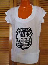 Screen Printed T-Shirt, Certified Mischief & Mayhem Shield, White, Size S