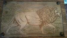 Wood Engraved Hand Painted Lion Wooden Keepsake Box, Custom Wood Box, Photo Memo