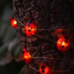 2m Solar Power Outdoor Ladybird Firefly Micro Wire String Fairy Lights   Garden