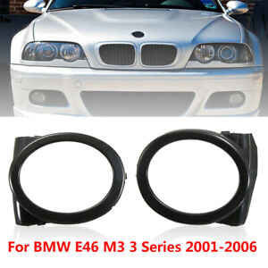 Pair Black Front Bumber Fog Light Ring Cover Base Trim For BMW E46 M3 2001-06