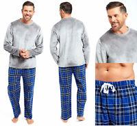 Mens Loungewear Pyjamas Fleece Top Flannel Cotton Pant Tie Waist Winter Warm