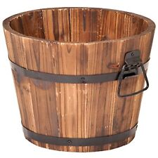 Rustic Wood Planter Box Garden Flower Decor Outdoor Pot Patio Barrel Wooden Deck