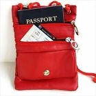 RED PASSPORT Neck Real Leather ID Holder Pouch Sling Travel Work Gym New!
