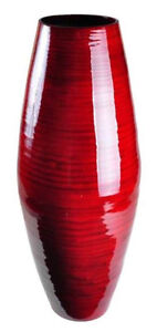 """Bamboo Vase Rich Red Spun Bamboo Lacquer Finish 12"""" Tall"""