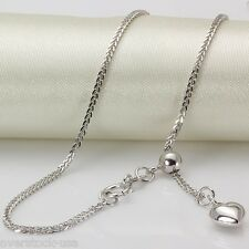 18INCH Solid 18K White Gold Necklace 1.6mm Heart Foxtail Link Chain Adjustable