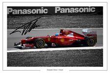Fernando Alonso Ferrari F1 Fórmula Uno Firmado Autógrafo Foto Impresión