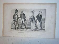 Gravure  France Costume militaire et de cour sous le directoire et le consulat