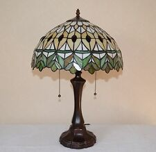 """16""""W yellow/Green Jeweled Stained Glass Tiffany Style Table Desk Lamp, Zinc Base"""