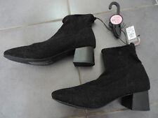 Ladies Womens PRIMARK Black GLITTER STRETCH ANKLE BOOTS Medium HEEL Size 7 BNWT