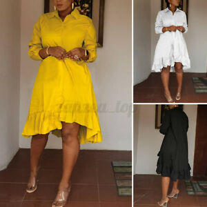 Womens Formal Shirt Dress Vintage Casual Short Dress Holiday Party Sundress Plus
