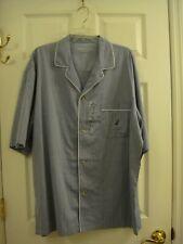 Nautica Sleepwear Men's Button Short Sleeve Blue Herringbone Cotton Size XL NEW