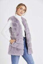 BNWT Women's Celebrity Inspired Faux Fur Gillet - Grey One Size