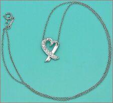 $2,000 Tiffany 18K White Gold Paloma Picasso Diamond Open Heart Pendant Necklace