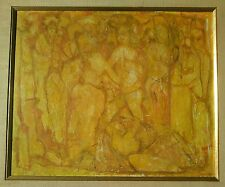 """Vtg 1957 Roman Soldiers Orgy Painting  Outsider Art 31"""" x 27"""" Artist Stocking"""