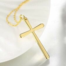 "Mens Womens Gold Plated Cross Pendant Charm 18"" Link Chain Necklace #N58"