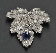 925 Sterling Silver Created Blue Sapphire Brooch Pin White Round Gift Adastra