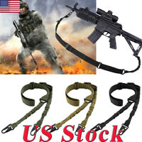 Tactical 2 Point Gun Sling Shoulder Strap Outdoor CS Rifle Hunting Shotgun Belt