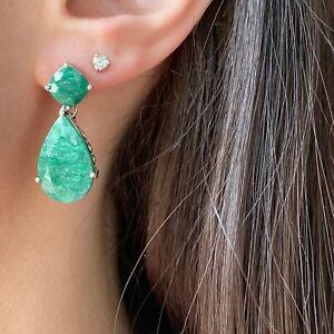 Sterling Silver Emerald Cushion Cut Teardrop Glamorous Dangle Drop Earrings