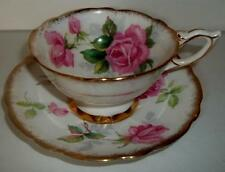 Royal Stafford Tea  Cup and Saucer Set BERKELEY ROSE Pink Roses Heavy Gold
