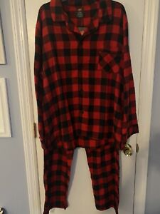 NEW! Men's Hanes Lightweight Flannel Pajama Set Red/Black Check Size LARGE