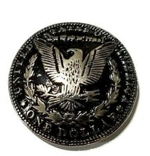 concho American silver dollar Gothic biker wallet screw silver screw snap