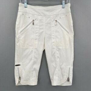 Jamie Sadock Womens Golf Bermuda Shorts White Stretch Pockets Elastic Waist 8