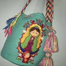 LUXURY Our lady of Guadalupe Wayuu Mochila Colombian Bag Large Size mint bling
