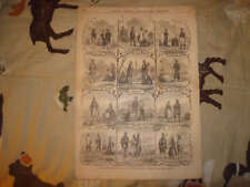 1854 ANTIQUE FOLK COSTUME FASHION PRINT HUNGARY INDIAN