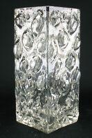 70er Jahre Glas Kristallglas Noppenvase Blockvase Vase eckig space age schlicht