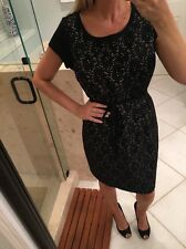 NWOT New Belted A Pea in the Pod Maternity Black Nude Lace Dress Crochet Large