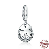 100% 925 Sterling Silver Four-Leaf Clover & Horseshoe Lucky Day Charm pandora