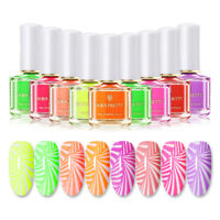 BORN PRETTY 6ml Stamping Polish Fluorescence Orange Purple Nail Art Varnish