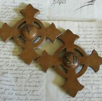 Antique French Pair Wooden Church Altar Crosses Crucifixes Numbers V & XIII