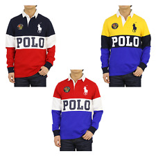 "Polo Ralph Lauren LS Long Sleeve Custom Slim Fit Panel Rugbies Polos w/ ""POLO"""