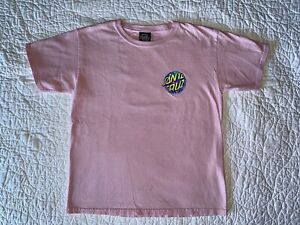 Boys SANTA CRUZ Pink Logo T-shirt Shirt Top Size L Large 12 14 EUC!