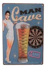 Man Cave Beer Tin Sign Bar Cafe Diner Garage Wall Decor Retro Metal Art Poster