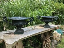 Pair Of Sweet Vintage Cast Iron Planters Urns with Arms For Garden Or Indoors