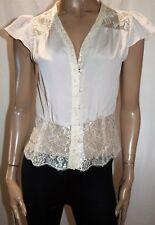 PORTMANS Brand Cream Lace Trim Button Up Cap Sleeve Blouse Top Size 8 BNWT #TB90