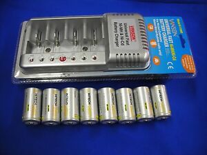"""8pcs """"D"""" size NiMh Rechargeable 10Ah TOP Consumer battery with Universal Charger"""