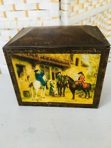 ANTIQUE/VINTAGE Edwardian biscuit/ Tea tin with Leather Effect & Old Masters Dec