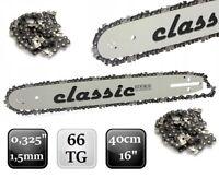 "Schwert 16"" 40cm + 2x Sägekette 0,325"" 1,5mm 66TG HUSQVARNA DOLMAR MCCULLOCH"