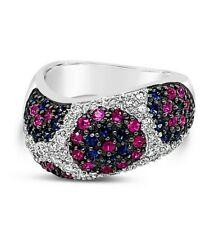 Le vian ® кольцо-Розовый сапфир, синий сапфир, ваниль бриллианты ® - 18K белое золото
