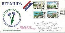 1971 FDC Keep Bermuda Beautiful Set of 4 FDI Hamilton 8 Feb sent  to Australia