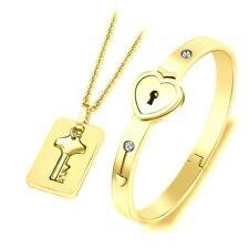 Titanium Steel Love Heart Lock Bracelet with Key Pendant Necklace Couple Fashion