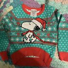 Toddler Girls 18 Months Peanuts Snoopy Santa Hat Holiday Christmas Ugly Sweater